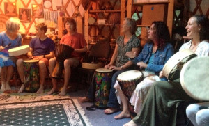Drum Circle in Yurt